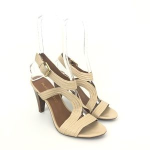 Franco Sarto Size 8 Beige Open Toe Cut Out Heels